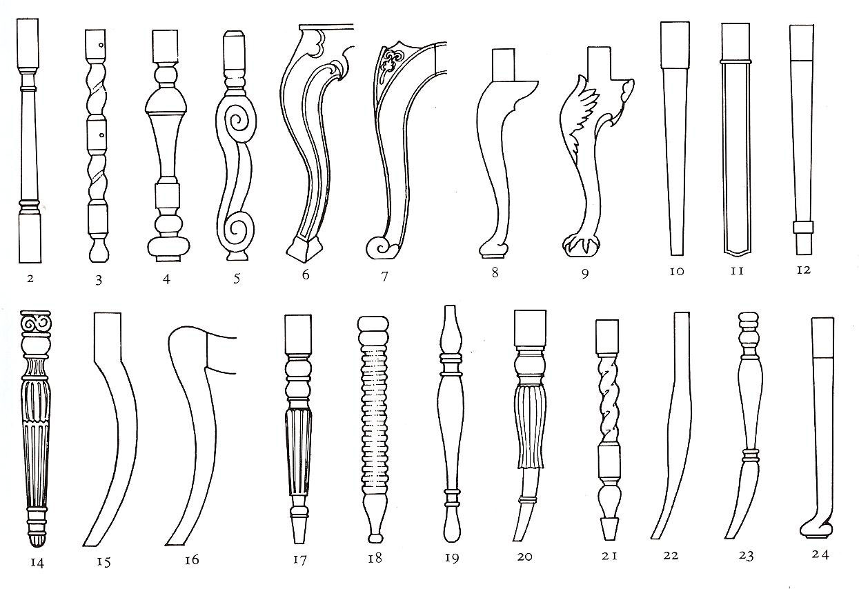 run of furniture leg styles and their names