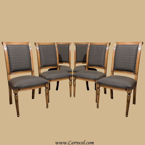 Set Of Six Solid Beech Wood Regency Dining Chairs