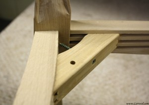 cane back chair joint