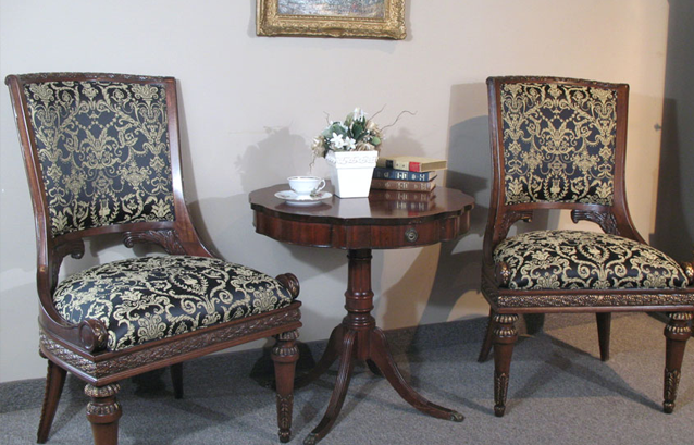 black and gold louis xvi reupholstered chairs