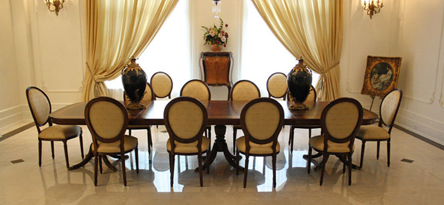 dinning table with 11 custom dining chairs
