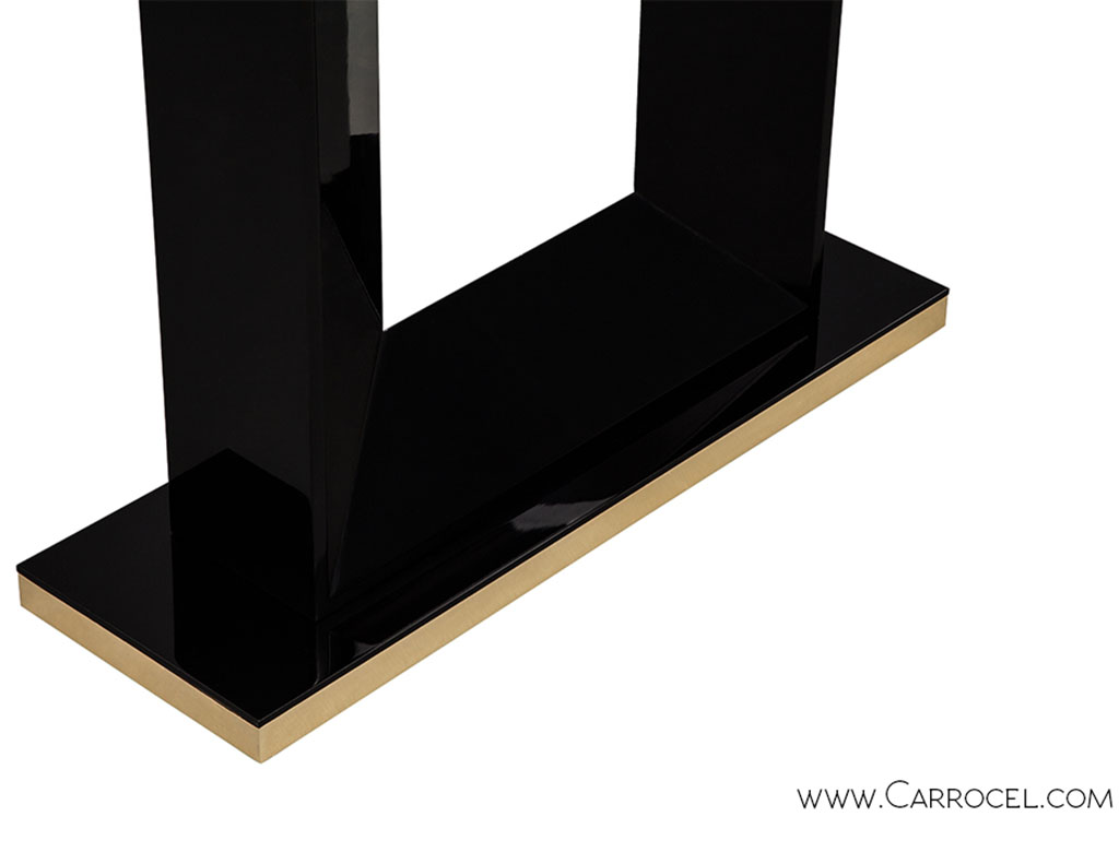 Custom Modern Black Lacquered Deco Console Table
