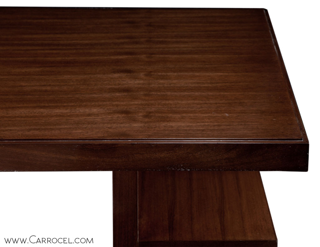 Custom Made Walnut Art Deco Office Desk