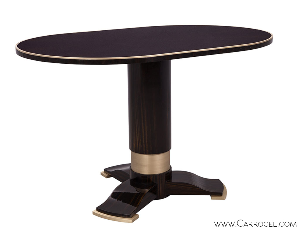 Custom Deco Style Macassar Ebony Oval Dining Table by Carrocel 1