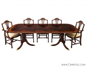 High Quality Flamed Mahogany Duncan Phyfe High Gloss Dining Table and Chairs Set