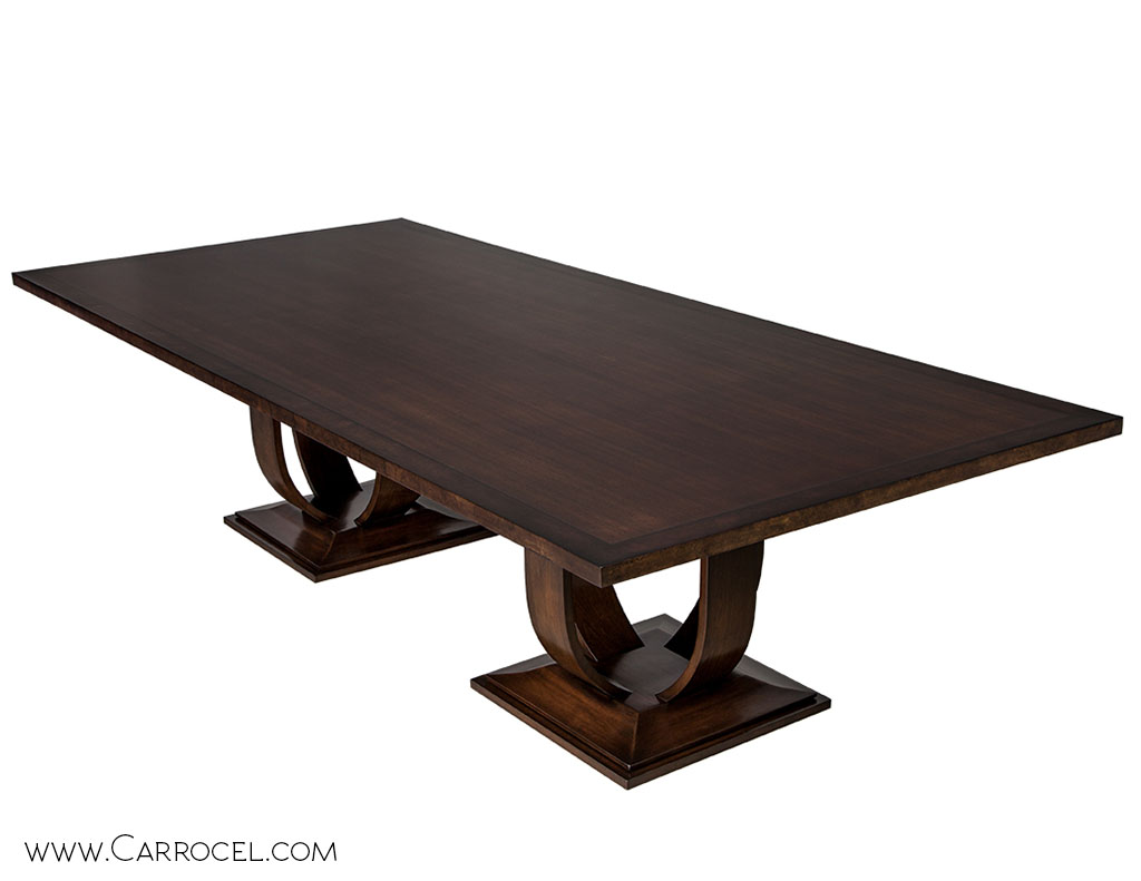 Modern Custom Made Art Deco Walnut and Burled Walnut Dining Table