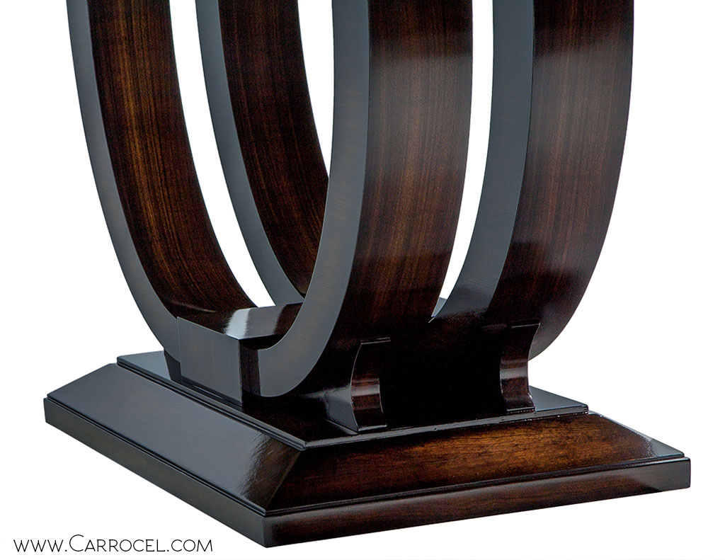 Custom Made Art Deco Mahogany Dining Table with Rosewood Banding