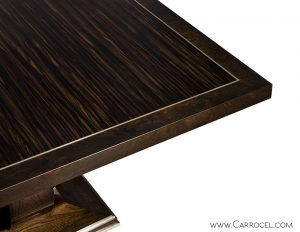Custom Made Art Deco Macassar Ebony Dining Table by Carrocel