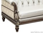 Custom Leather Tufted Silver Leaf Carved Sofa by Carrocel 3