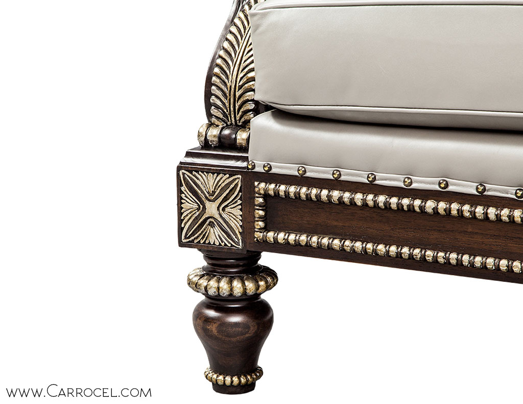 Custom Leather Tufted Silver Leaf Carved Sofa by Carrocel