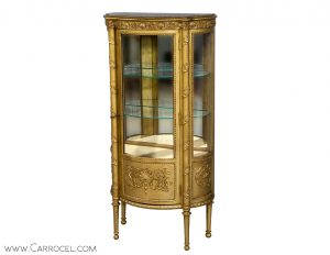 Gold Display Cabinet with Carved Leaf Motif