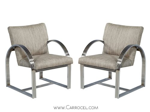 Pair of Vintage Chrome Frame Chairs