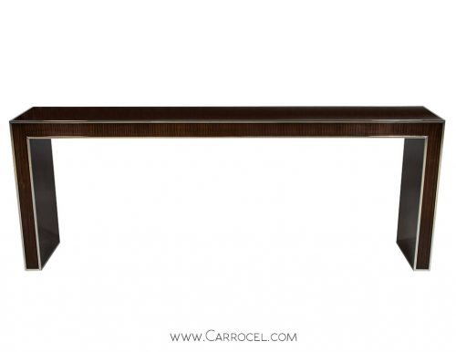 Custom Mahogany Hall Console with Metal Inlay