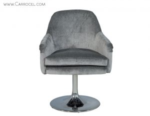 Pair of Mid Century Swivel Chairs in Grey Mohair Velvet