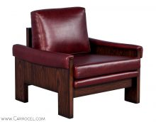 Modernist Rosewood and Red Leather Lounge Chair