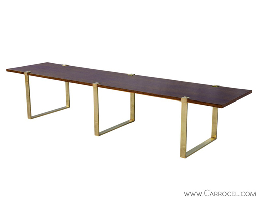 Modern Walnut Brass Bench