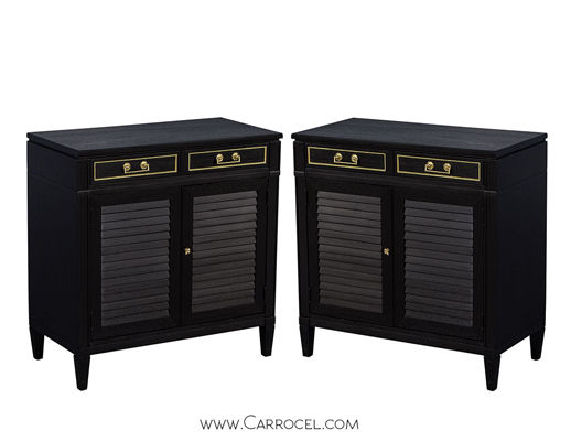 Pair of Ebonized Louvered Door Cabinets