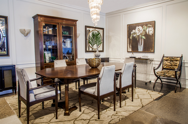 An elegant dining area setup with high-end fine furniture