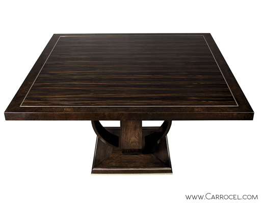 Macassar Ebony and Burled Walnut Square Dining Table