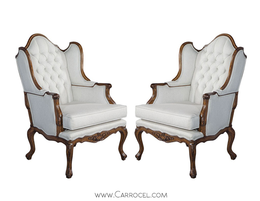 Pair of Carrocel Revival Louis XV Wingback Chairs