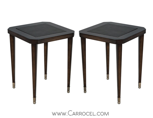 A pair of leather embossed end tables