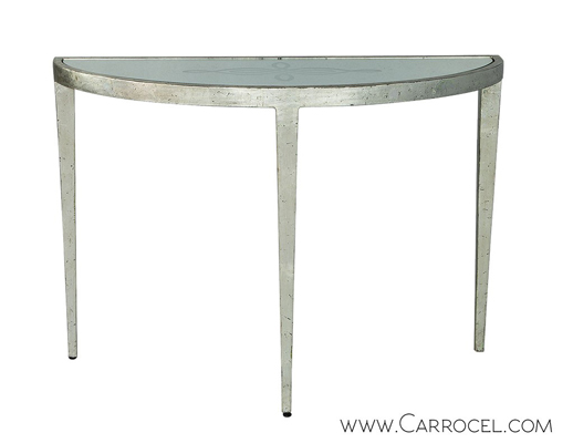 Mirrored Demi Lune Console Table