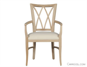 Old Style White Dining Chair with Armrest