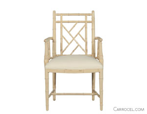 White Dining Chair with Armrest