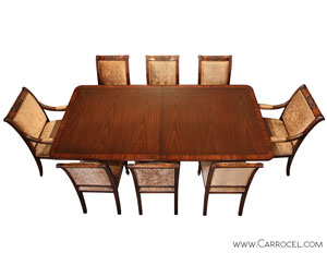 Carrocel's Custom 9-Piece Dining Set featuring Rosewood Table Banding and Empire Style Chairs