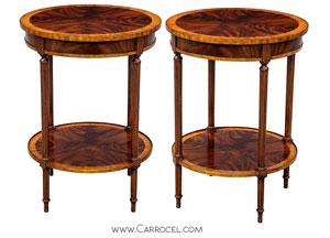 Carrocel's High End Crotch Swirl Flamed Mahogany Round End Sofa Tables