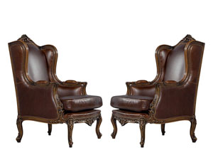 Mahogany Leather Louis XV Wing Chairs from Carrocel