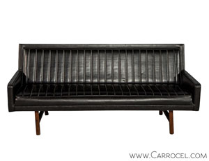 Vintage Ribbed Vinyl and Walnut Sofa