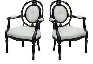 Black Lacquered Vintage Italian Leather Accent Chairs