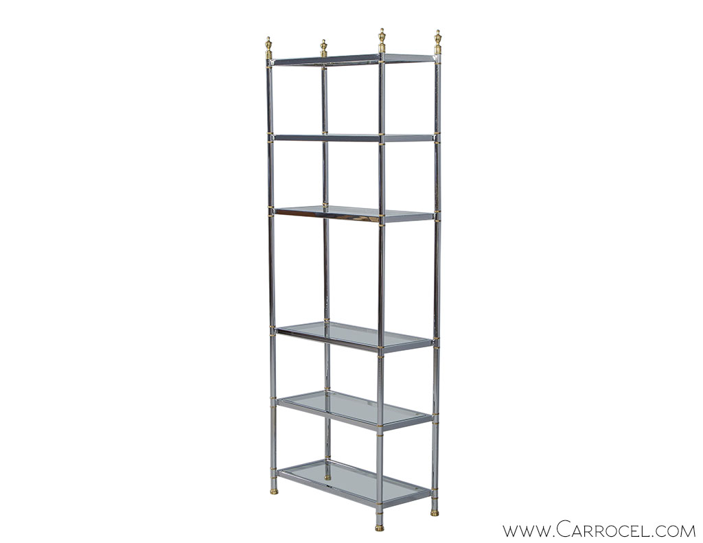 Neoclassical chrome and glass etagere carrocel fine for Dining room etagere