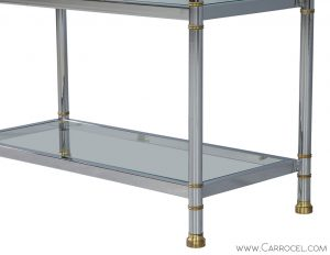 Neoclassical Chrome and Glass Etagere