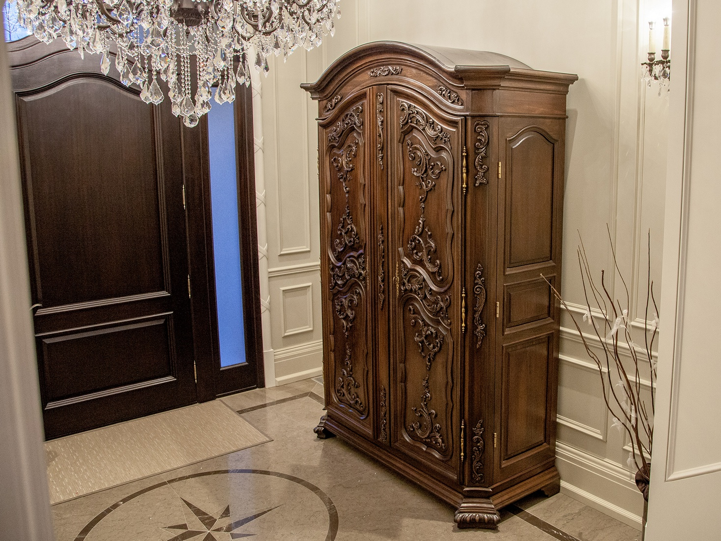 Newly Made Carved Armoire Entrance Cabinet