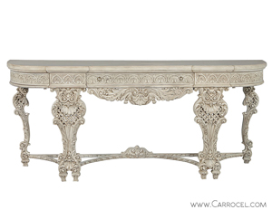 French Hand Carved Louis XV Rococo Style Console