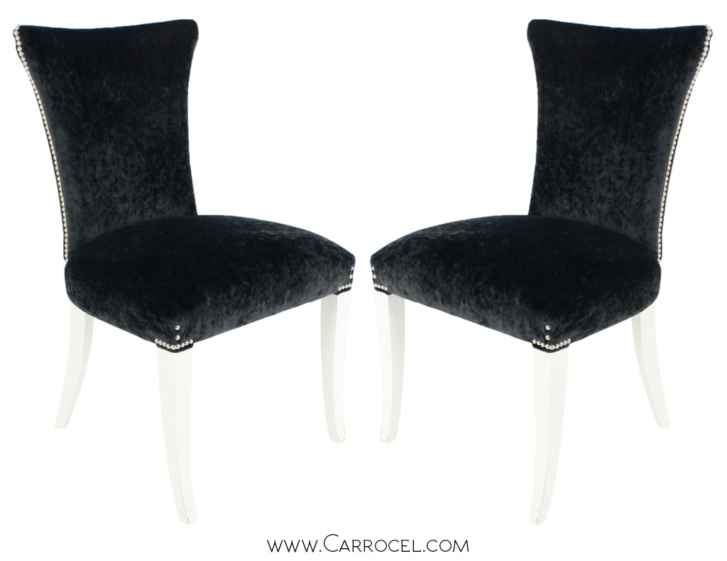 Pair of Custom Art Deco Italian Accent Side Chairs