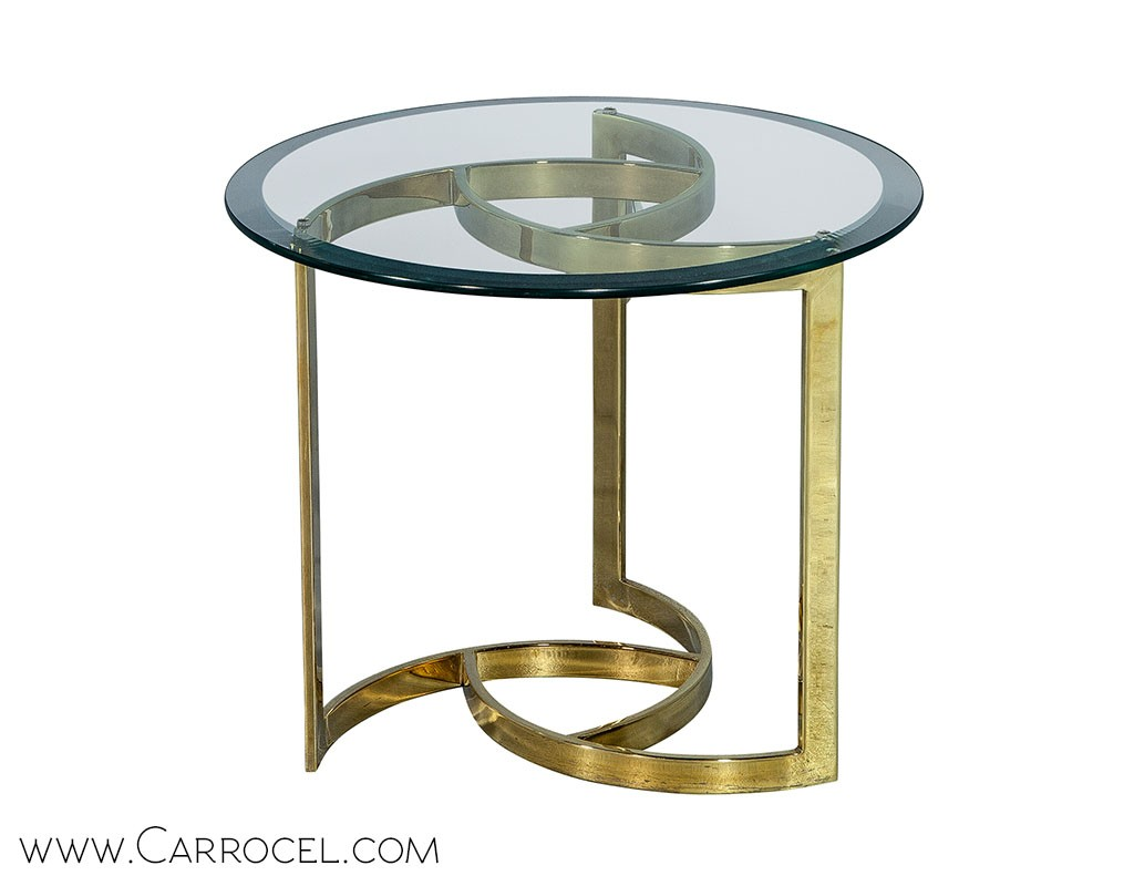 Polished Brass Pinwheel End Table