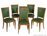 Set of 6 Original Art Deco Leather Dining Chairs