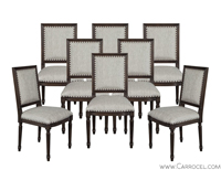 Set of 8 Custom Louis Capet Dining Side Chairs
