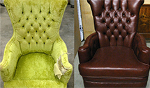A before and after picture of a red leather finished arm chair