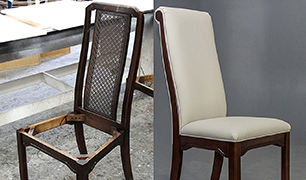 A before and after picture of a finished dining chair