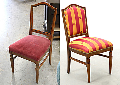 Antique Dining Chair Restoration Red Fabric Upholstered at Carrocel
