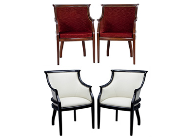 Pair of Antique Red White Parlor Chairs Black Lacquered