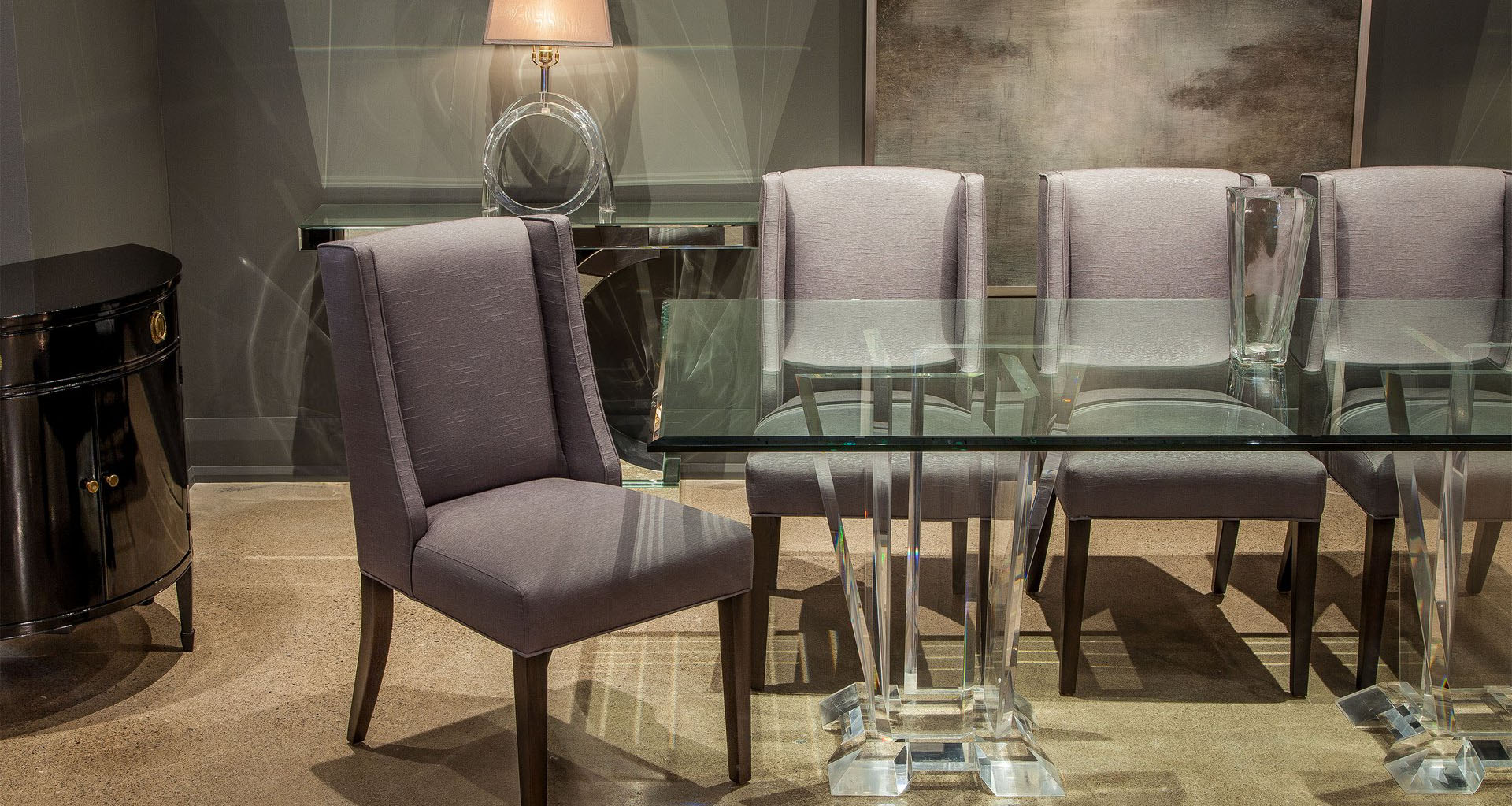 An Elegant High-End Dining Table with Glass Top