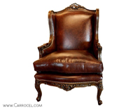 Carrocel Carved Louis XV Styled Leather Wing Chair