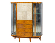 Art Deco Burl Sandalwood & Shagreen Display Cabinet Secretaire