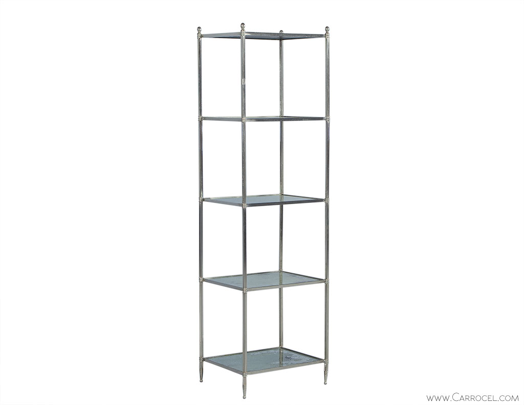 Eglomise Glass & Polished Nickel Etagere 1