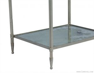 Eglomise Glass & Polished Nickel Etagere